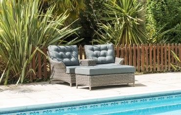 Katie Blake Garden Furniture Mayberry Love Chair with Ottoman