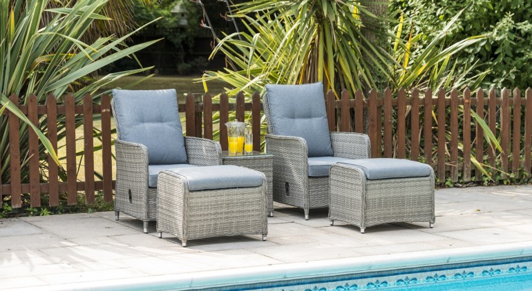 Milan 2 Seat Lounger Set with footstools and Table