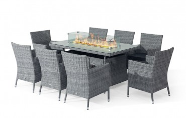 Sandringham Fire Pit Set 8 Seat Rectangular Table