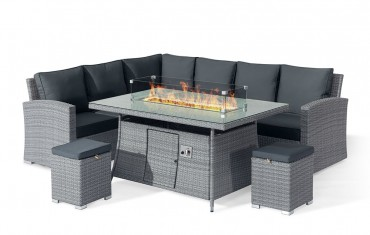 Sandringham KD High Dining Corner Fire Pit Set