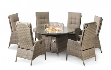 Sandringham Fire Pit Set 6 Recliner Round Table