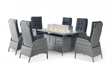 Sandringham Fire Pit Set 8 Recliner Rectangular Table