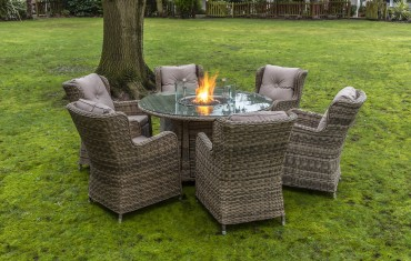 Seville 6 Seater Round Fire Pit Table Set