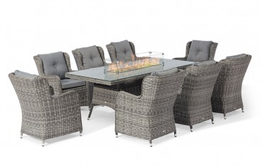 Seville 6 Seater Rectangular Fire Pit Table Set
