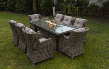 Seville 8 Seater Rectangular Fire Pit Table Set